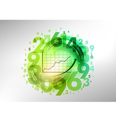 numbers green with graph vector image