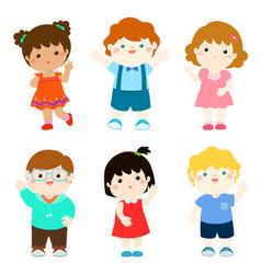 Happy kids variety nationality cartoon vector