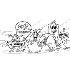 Cartoon monsters group coloring page vector