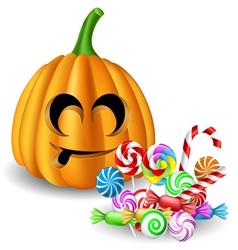 Halloween pumpkin head with candy set vector image