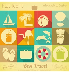 Travel items in retro style vector