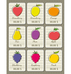 Set of labels with organic fruits vector