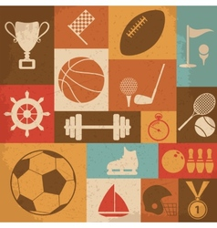 Retro sports icons vector