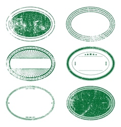 Green grunge oval stamp set vector