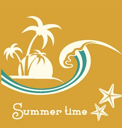Summer time with sea wave and tropical palm trees vector