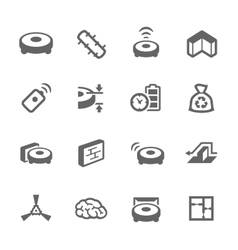 Simple robot cleaner icons vector