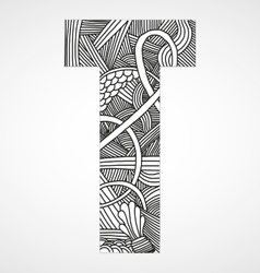 Letter t from doodle alphabet vector
