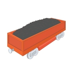 Wagon with coal icon cartoon style vector