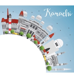 Karachi skyline with gray landmarks blue sky vector