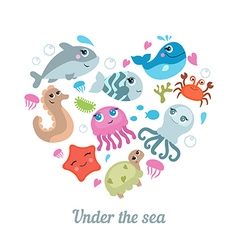 Cute sea creatures vector