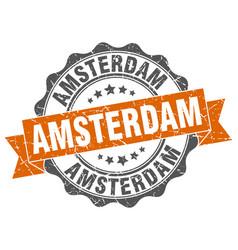 Amsterdam round ribbon seal vector