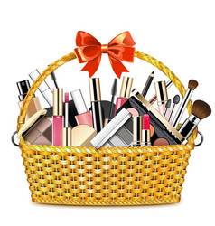 basket with makeup cosmetics vector image
