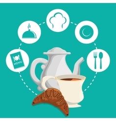 breakfast tea pot bread croissant badge green vector image vector image