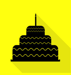 Cake with candle sign black icon with flat style vector