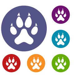 Cat paw icons set vector