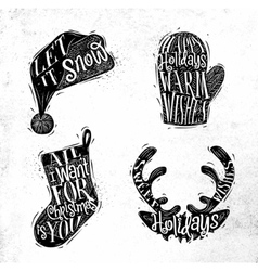 Christmas silhouettes hat vector image vector image
