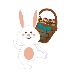 Cute rabbit with hamper of eggs in the hand vector
