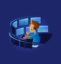 Exchange trader in workplace vector