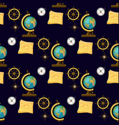 Geography themed seamless pattern back to school vector