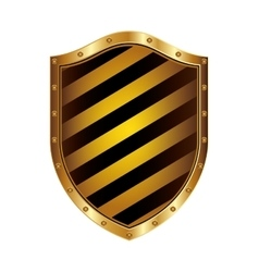 golden shield with colorful diagonal lines shape vector image