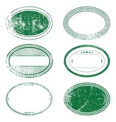 Green Grunge Oval Stamp Set vector image
