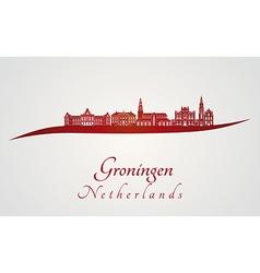 Groningen skyline in red vector image vector image