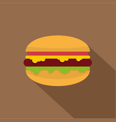 Hamburger with cheese tomatoes and salad icon vector