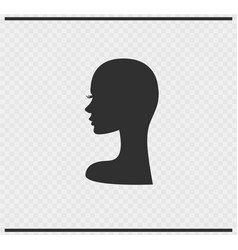 head icon black color on transparent vector image