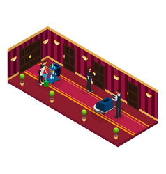 Isometric hotel cleaning service concept vector