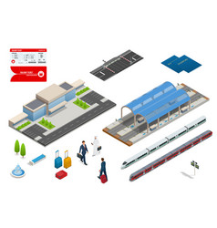 isometric set railroad objects buildings vector image