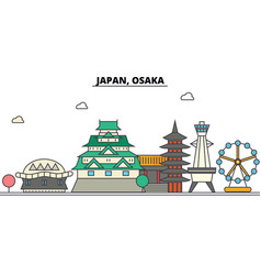 Japan osaka city skyline architecture buildings vector