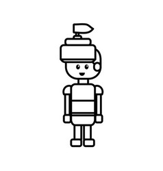 Line warrior character to video game technology vector