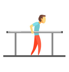 Man exercising on uneven bars colorful cartoon vector