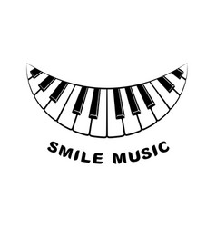 Music logo piano smile icon simple style vector