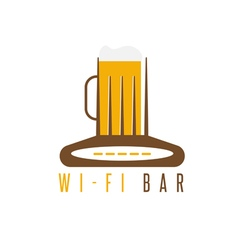 negative space concept of router and beer mug vector image vector image