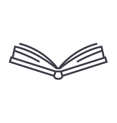 open book frontview line icon sign vector image vector image
