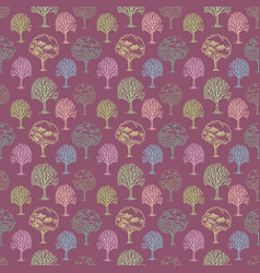 Pattern with trees and bushes on pink background vector