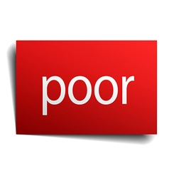 Poor red square isolated paper sign on white vector