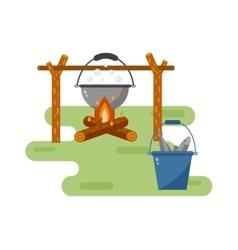 Pot on bonfire vector image