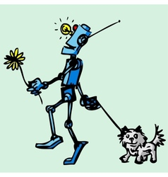 Robot walks his dog vector image vector image