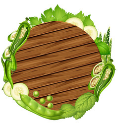 Round board with green vegetables vector