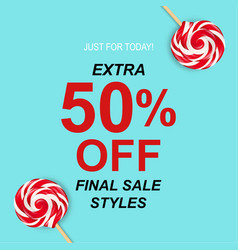 sale poster with lollipops vector image vector image