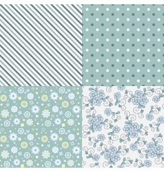 Seamless pattern set flowers lines dots vector