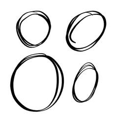 set circle line sketch hand drawn vector image