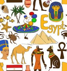 Sketch egypt seamless pattern vector