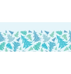 Snowflake Textured Christmas Trees Horizontal vector image