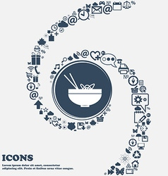 Spaghetti icon in the center Around the many vector image