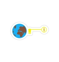 Stylish sticker on paper globe and key money vector
