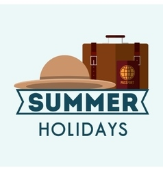 Summer holidays suitcases and hat poster vector