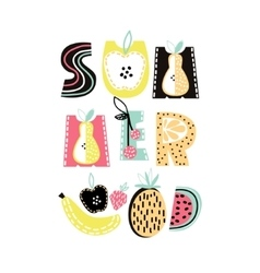 Summer text with cute hand drawn summer fruit vector